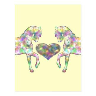 Cartão Postal Cavalo das crianças e coração do amor