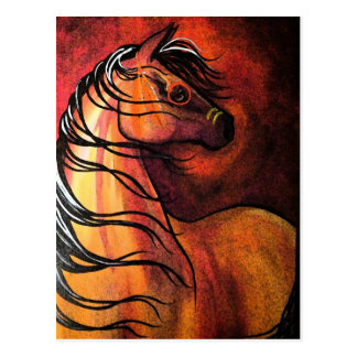 Cartão Postal Cavalo de guerra indiano do Buckskin