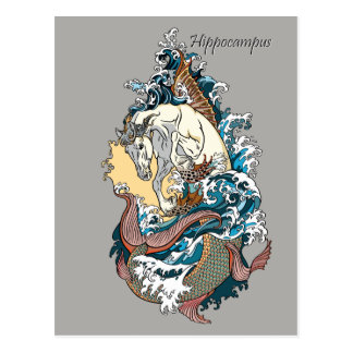 Cartão Postal cavalo de mar mitológico