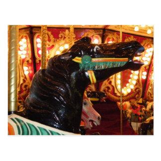 Cartão Postal Cavalo do carrossel na noite