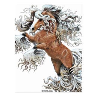 Cartão Postal cavalo dourado da fantasia