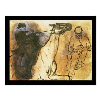 Cartão Postal Cavalo e cavaleiro de Edgar Degas