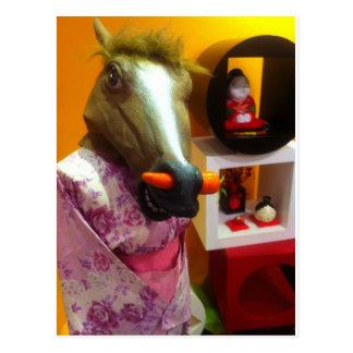 Cartão Postal Cavalo em um quimono