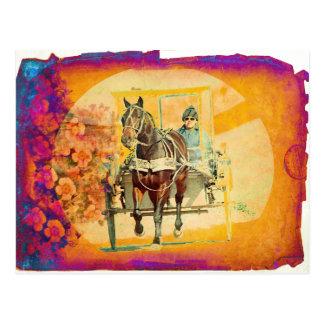 Cartão Postal Cavalo floral e carrinho de Amish do Grunge