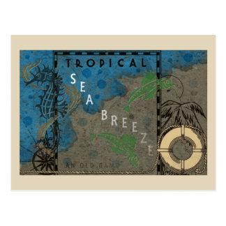 Cartão Postal Cavalo marinho e peixes tropicais da brisa de mar