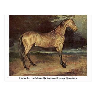 Cartão Postal Cavalo na tempestade por Gericault Louis Theodore