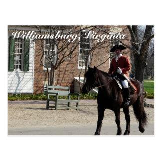 Cartão Postal Cavalos de equitação em Williamsburg colonial