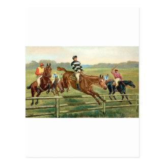 Cartão Postal Cavalos de salto do vintage