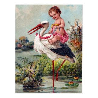 Cartão Postal Cegonha e bebê desde 1909