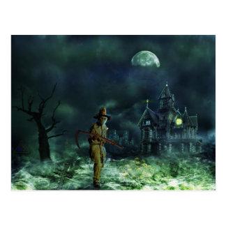 Cartão Postal Ceifador assustador do Dia das Bruxas e casa