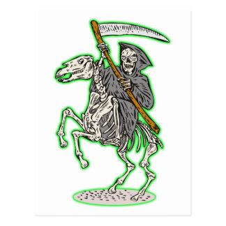 Cartão Postal Ceifador no cavalo com scythe