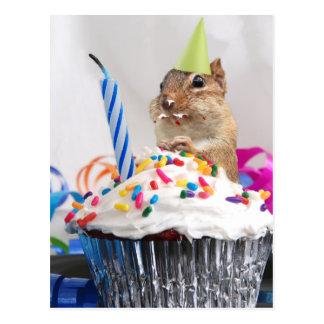 Cartão Postal celebração do aniversário do chipmunk