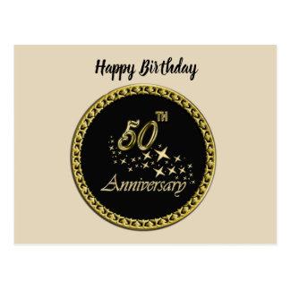 Cartão Postal Celebração do ouro e do aniversário do preto 50th