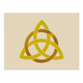 Cartão Postal Céltico de creme do nó da trindade do ouro
