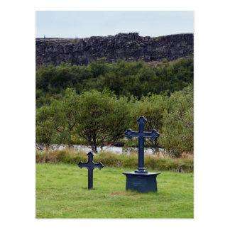 Cartão Postal Cemitério da igreja de Thingvellir, Islândia