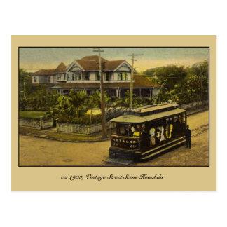 Cartão Postal cena 1900 da rua do vintage do Ca Honolulu