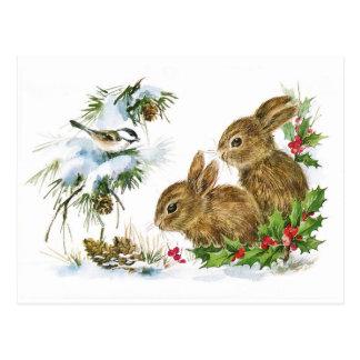Cartão Postal Cena bonito do Natal dos coelhos do vintage