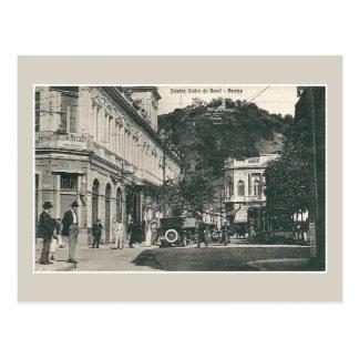 Cartão Postal Cena Brasil da rua movimentada de Santos dos 1900s