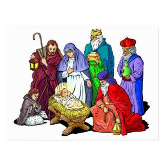 Cartão Postal Cena colorida da natividade do Natal
