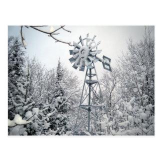 Cartão Postal Cena da árvore do inverno do moinho de vento
