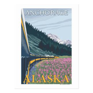 Cartão Postal Cena da estrada de ferro de Alaska - Anchorage,