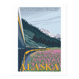 Cartão Postal Cena da estrada de ferro de Alaska - vale de