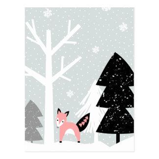 Cartão Postal Cena da floresta do inverno