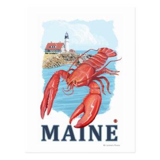 Cartão Postal Cena da lagosta e do farol de Portland