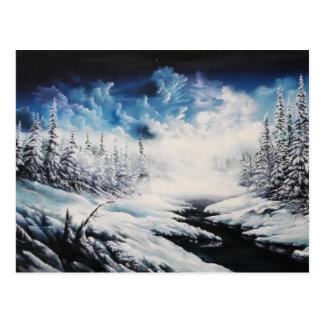 Cartão Postal Cena da neve da lua do inverno em produtos