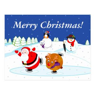 Cartão Postal Cena da neve do patinagem no gelo de Papai Noel e