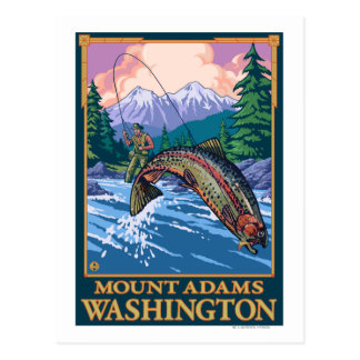 Cartão Postal Cena da pesca com mosca - montagem Adams,