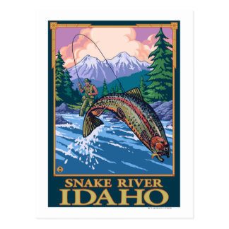 Cartão Postal Cena da pesca com mosca - rio Snake, Idaho