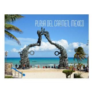 Cartão Postal Cena da praia do mar das caraíbas do Playa del