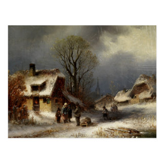 Cartão Postal Cena da vila do inverno - Winterliche Dorszene
