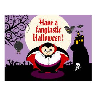 Cartão Postal Cena de Dracula do vampiro do Dia das Bruxas dos