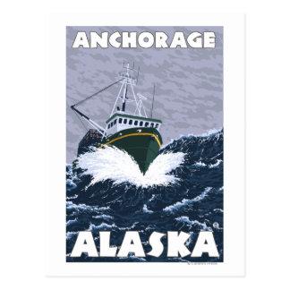Cartão Postal Cena do barco de pesca - Anchorage, Alaska