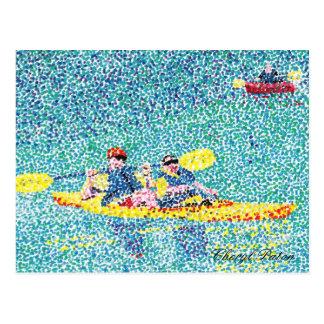 Cartão Postal Cena do caiaque do Pointillism no rio