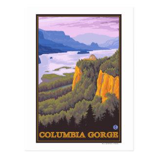 Cartão Postal Cena do desfiladeiro do Rio Columbia com ponto da