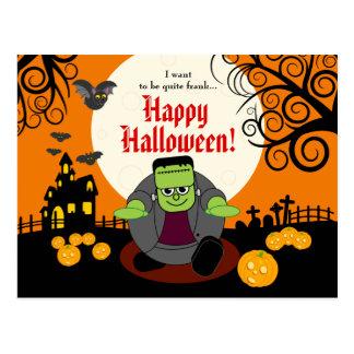 Cartão Postal Cena do Dia das Bruxas Frankenstein da Lua cheia
