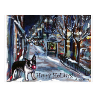 Cartão Postal Cena do feriado do Xmas do inverno do cão