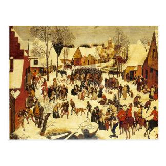 Cartão Postal Cena do inverno de Lons le Saunier Museu Breughal