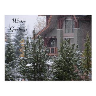 Cartão Postal Cena do inverno no assobiador, B.C.