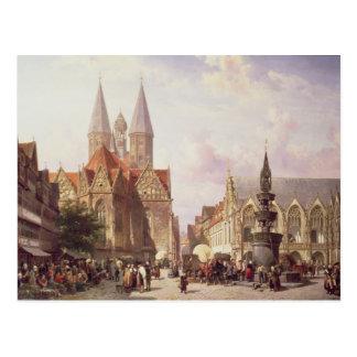 Cartão Postal Cena do mercado em Bransvique