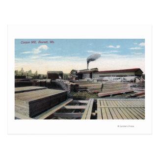 Cartão Postal Cena do moinho da madeira serrada da garganta