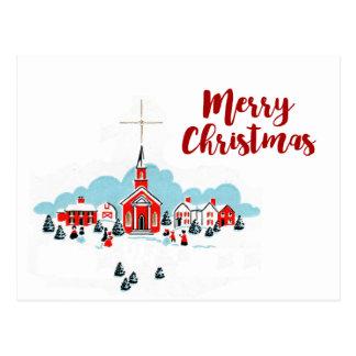 Cartão Postal Cena do Natal com uma igreja e uma estrela