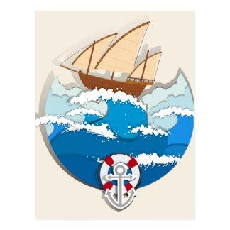 Cartão Postal Cena do oceano com veleiro