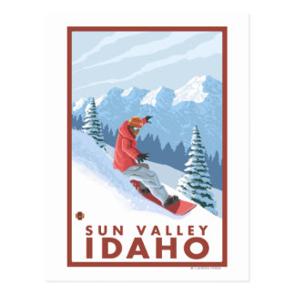Cartão Postal Cena do Snowboarder - Sun Valley, Idaho