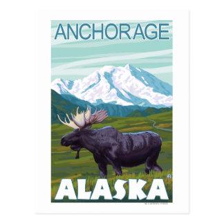 Cartão Postal Cena dos alces - Anchorage, Alaska