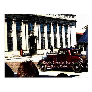 Cartão Postal Cena dos inimigos públicos - o banco, Oshkosh