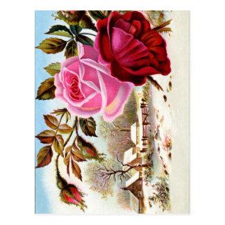 Cartão Postal Cena e flores do inverno